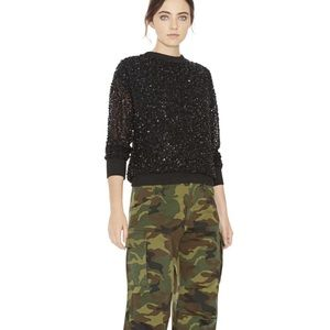 Alice + Olivia Black Sequined Sweater Size S